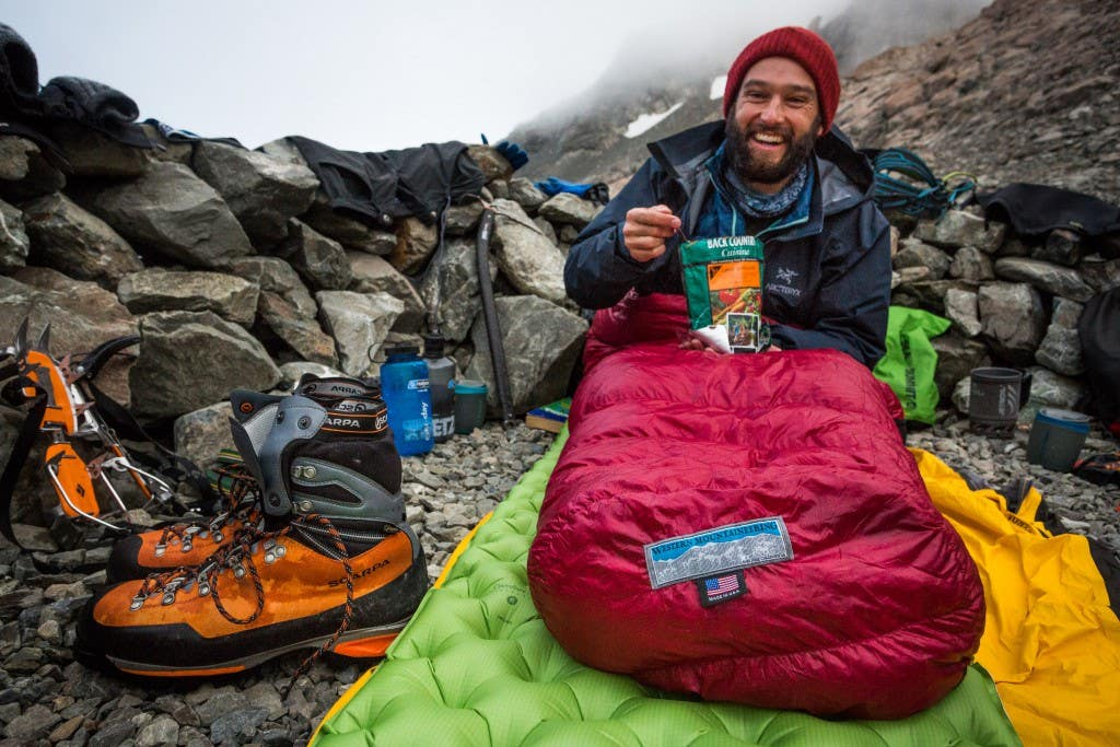 Jules enjoying some dinner before turning in for the night. Annette Plateau, Aoraki/Mount Cook NP, NZ