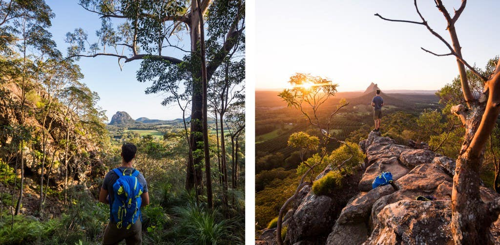 L: Looking south towards Mt.Tibrogargan about halfway up the Ngungun summit track. R: Watching sunset over Mts. Coonoowrin & Beerwah, from Mt. Ngungun