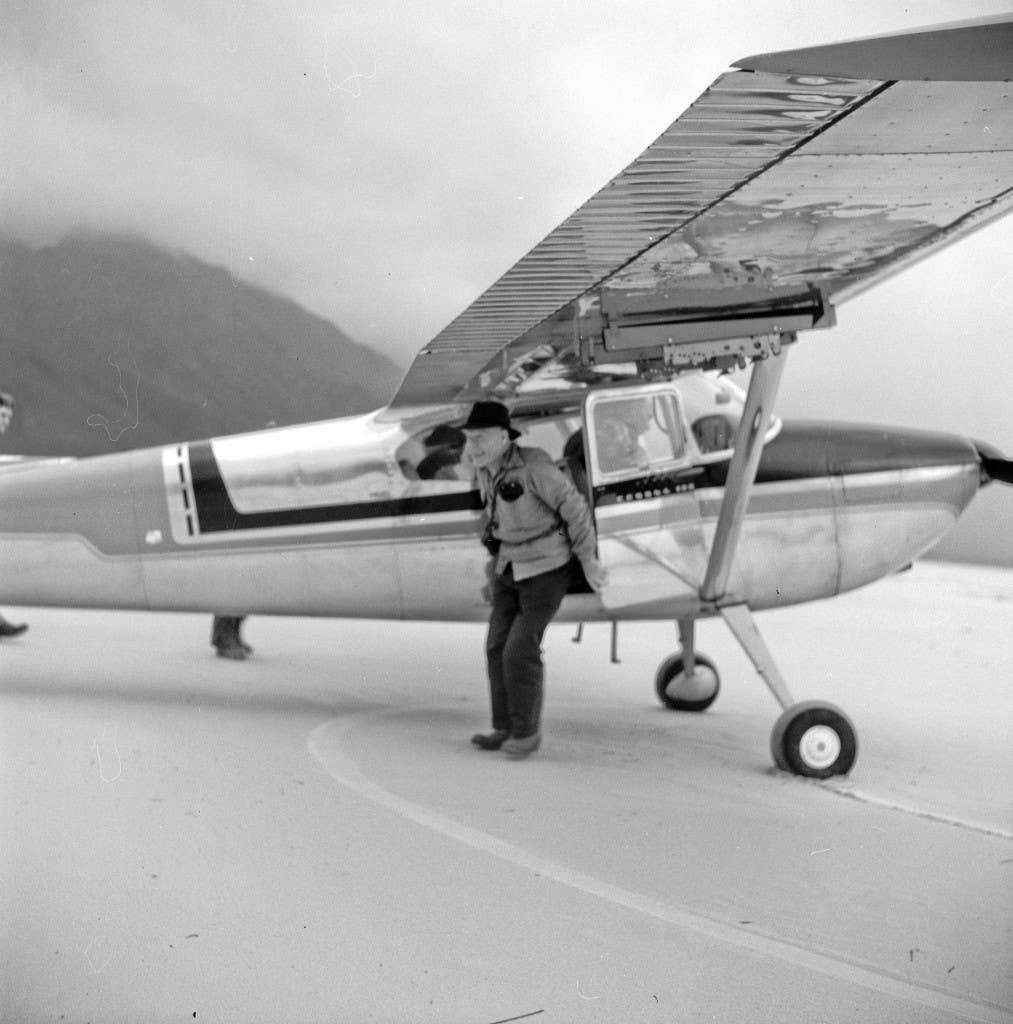 'Paddy, an ex- RAAF serviceman, looking pleased to be arriving at Lake Pedder to start the trek, after waiting several days for a gap in the famously unpredictable South West Tasma