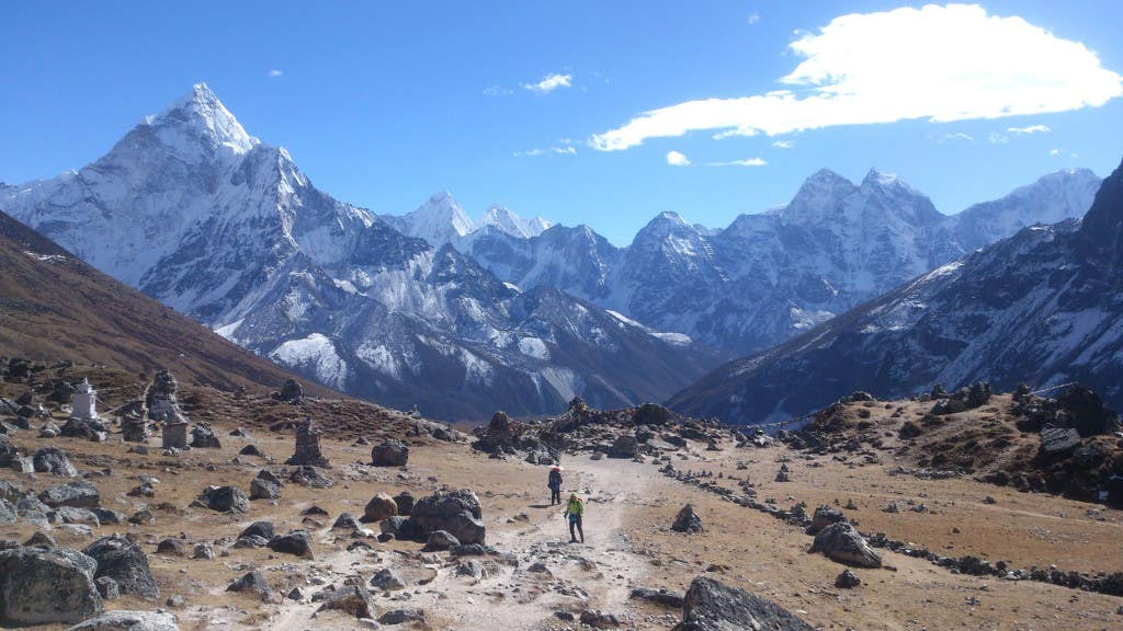 Going back down from Everest Base Camp, which I wouldn't have been able to do without my hiking boots from Paddy Pallin. Michael Zanon