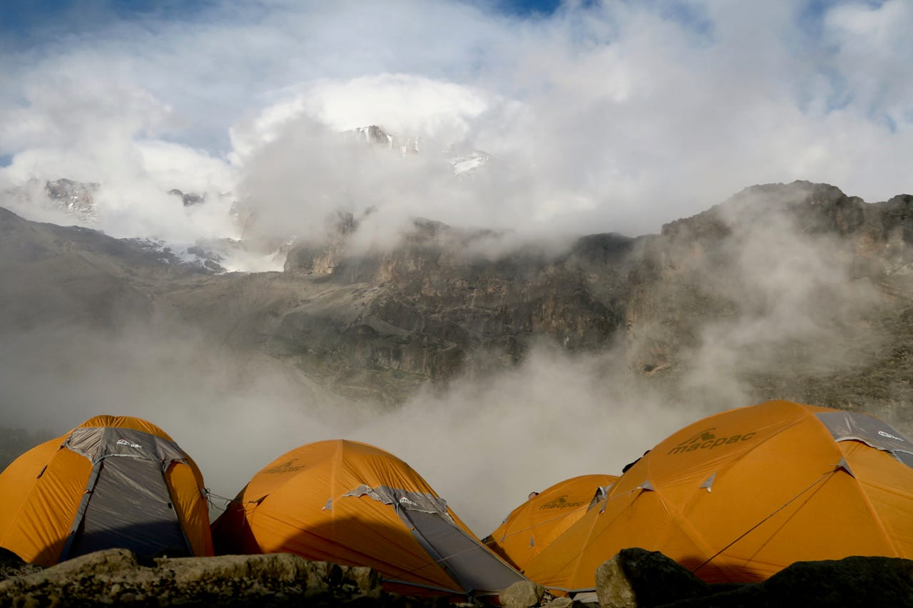Base camp of Kilimanjaro hiking tents