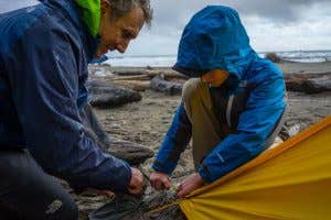 The North Face Dad and Son Setting Up Tent