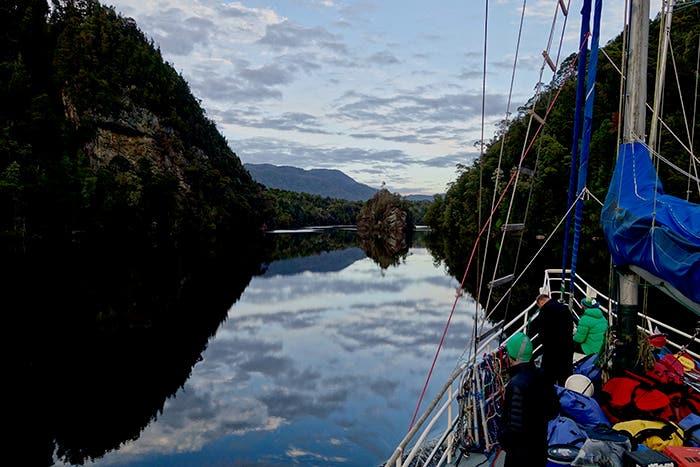 Sailing along the Franklin Gordon River in Tasmania.