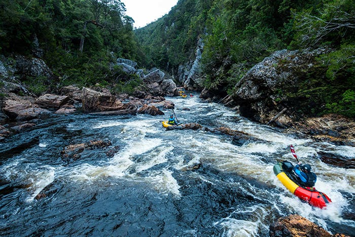 Rafters taking on the Decension Gorge, The Franklin River, Tasmania.