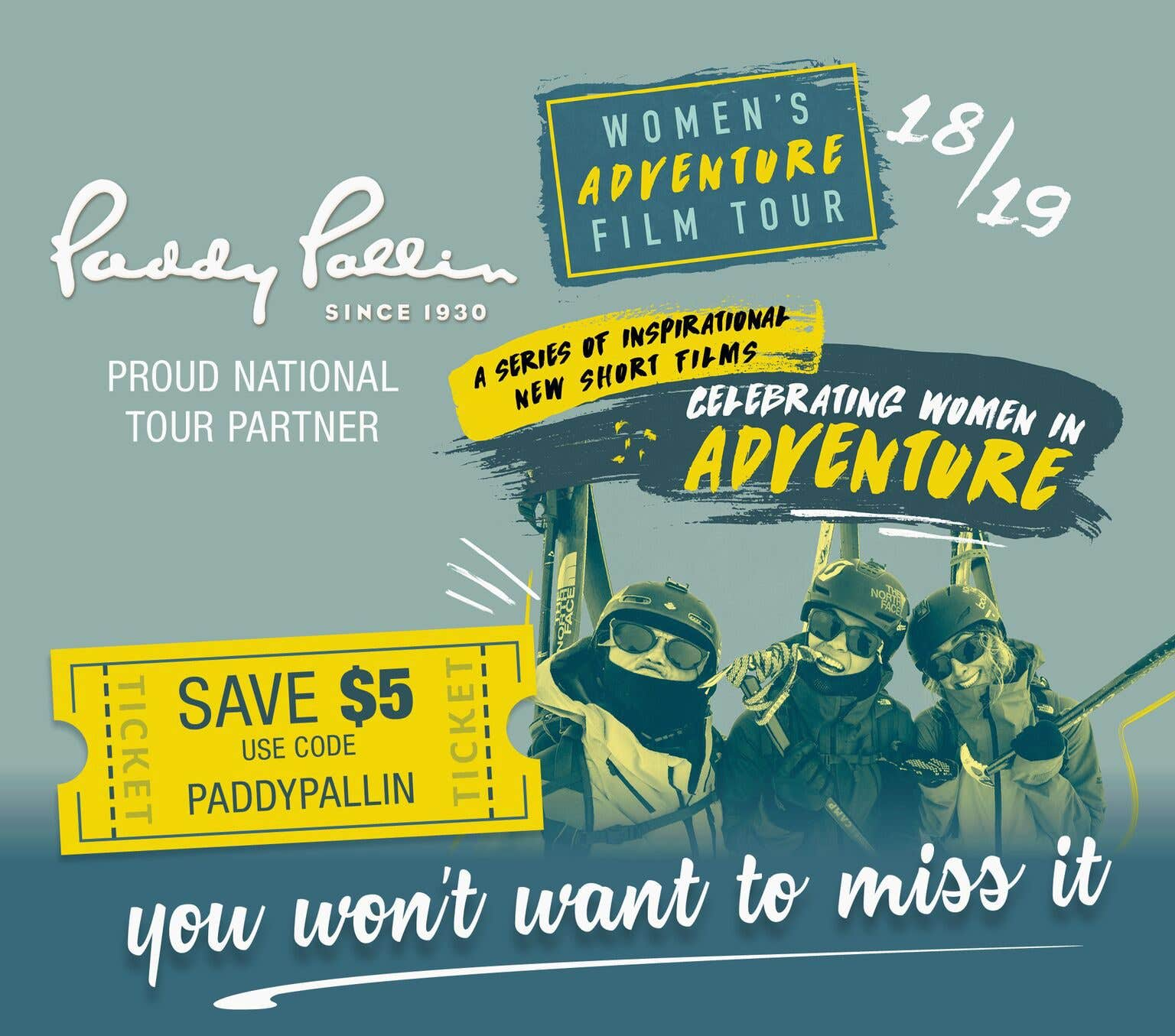 Women's Adventure Film Tour Paddy Pallin Discount Code