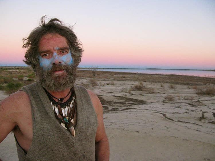 Jon Muir at sunset during his human powered expedition to cross Lake Eyre