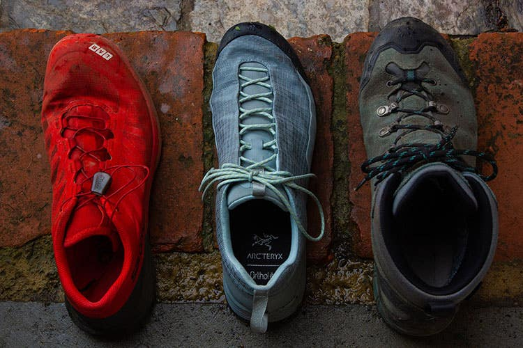 A mountain athlete's hiking and endurance running shoe collection.