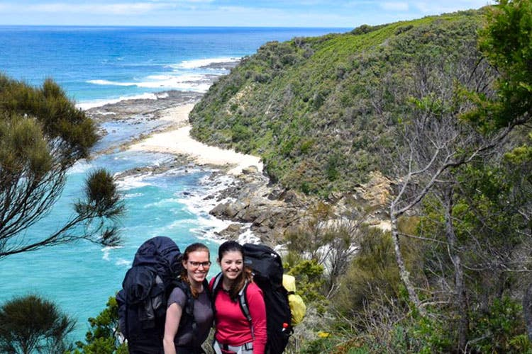 Bushwalkers hiking and camping along Great Ocean Walk