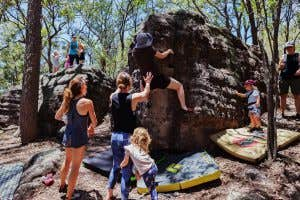 Adventure Parents and their mini adventurers bouldering