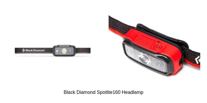 The Black Diamond Spotlite160 Headlamp in Blue and a close up of the light on a red model