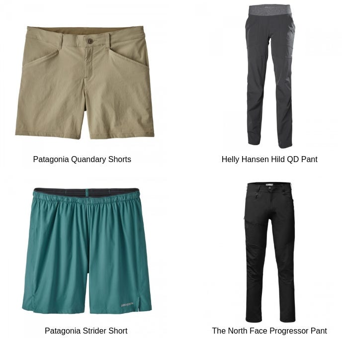 Images of the Patagonia Quandary Shorts Women's in Shale, the Helly Hansen Hild QD Pant Women's in ebony, the Patagonia Strider Short Men's in Tasmanian Teal and the The North Face Progressor Pant Mens in TNF Black