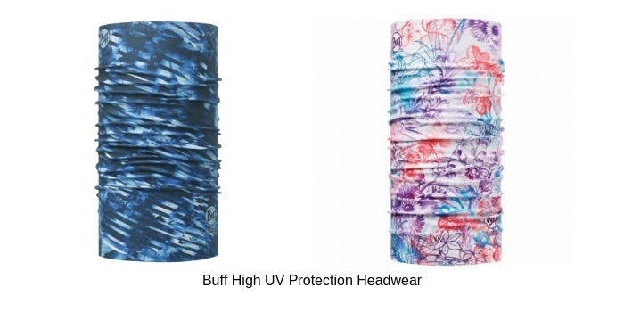 Image of a blue and floral patterned Buff High UV Protection Headwear