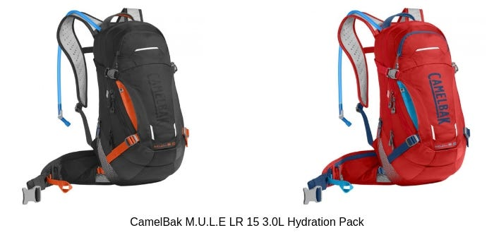 Images of a red and black CamelBak M.U.L.E LR 15 3.0L Hydration Pack