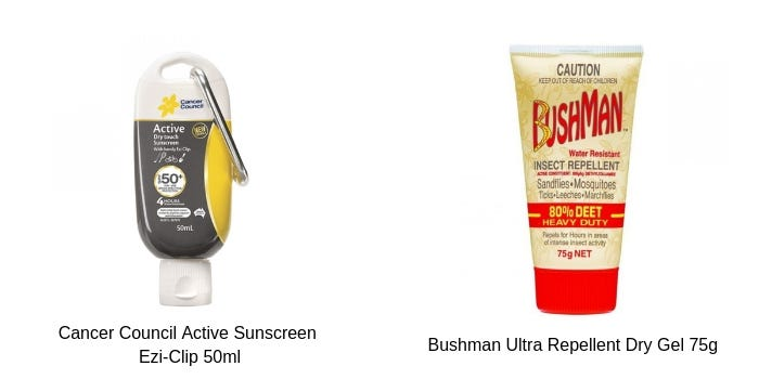 A red and beige tube of Bushman Ultra Repellent Dry Gel 75g and a yellow, grey and white tube of Cancer Council Active Sunscreen Ezi-Clip 50ml