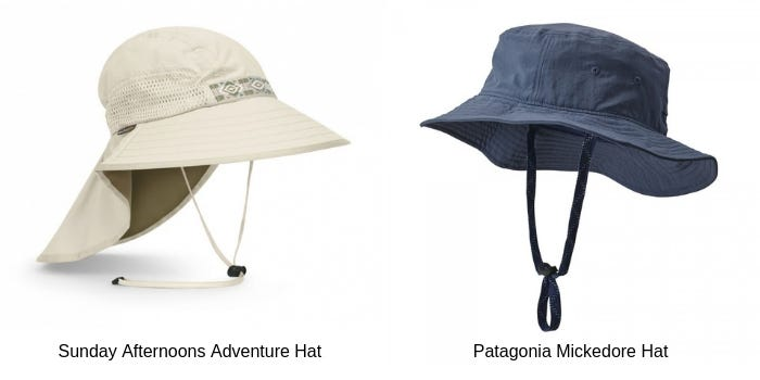 Cream Sunday Afternoons Adventure legionnaire hat and the Navy coloured Patagonia Mickedore Bucket Hat