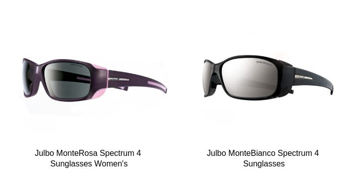 Pink and Black coloured Julbo MonteRosa Spectrum 4 Sunglasses Women's and Black Julbo MonteBianco Spectrum 4 Sunglasses