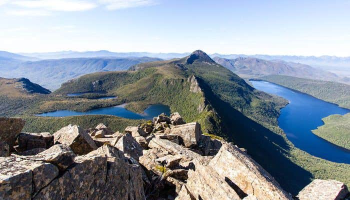 View of Lonely Tarns, Mount Sarah Jane and Lake Judd