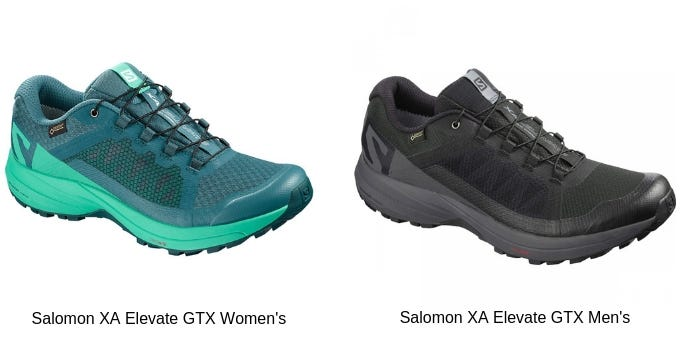 Salomon XA Elevate GTX Women's in Blue and Salomon XA Elevate GTX Men's in black
