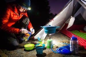 Back Country Cuisine being prepared whilst out in the Wilderness after dark.