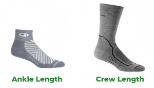 Crew and ankle length hiking socks