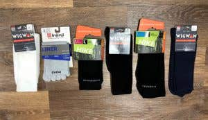 A range of hiking sock liners