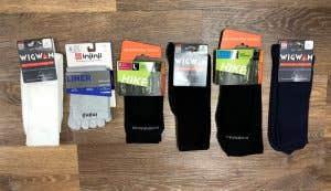 A range of hiking sock liners