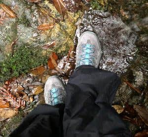Hoka One One Kaha keeping feet dry in a cold stream