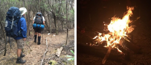 hiking along a remote trail and enjoying a campfire in the evening