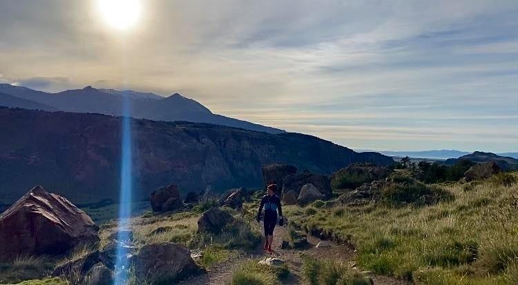 Trail runner, enjoying the open terrain out on a run