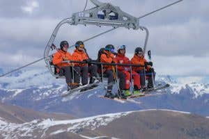 The North Face's Futurelight being tested by skiers on a chairlift