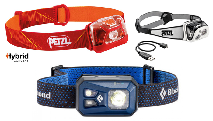 Head Torches - Black Diamond Revolt, Petzl Tikkina and Petzl Reactik