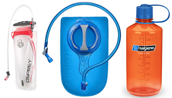 Hydration for hiking - Osprey and CamelBak hydration bladders, and Nalgene narrow mouth waterbottle