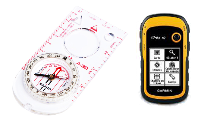Navigation - Garmin E-Trex and Suunto A-30 Compass. These are just 2 of many different options for day hiking navigation.