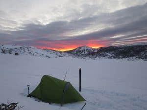 Ski touring camp setup Australian Alps