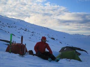 Backcountry camp set up near Mt Twynam in the Snowy Mountains NSW