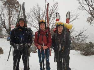 Back country skiers in the Australian Alpine