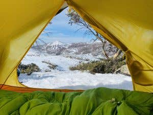 Camping in the snowy mountains