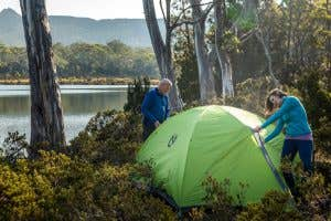 Nemo tent being set up in Tasmania next to Shadow Lake