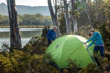 Nemo tent being set up in Tasmania next to Shadow Lake