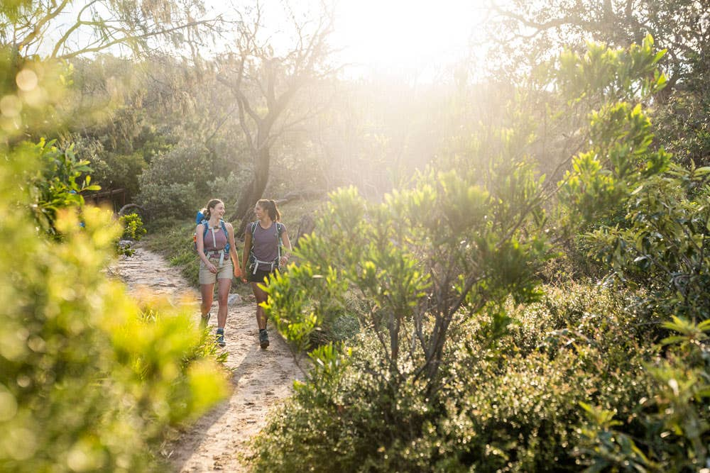 Two hikers out on the trail as the sun sets