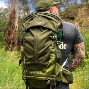 Get Outside Melbourne founder wearing his new Osprey Stratos pack from Paddy Pallin