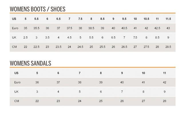 merrell womens shoe size chart us
